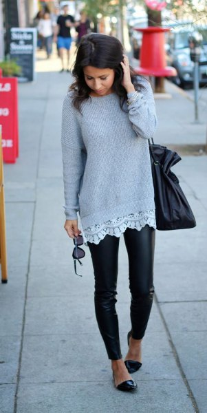 gray rib sweater with white tunic blouse and leather tights
