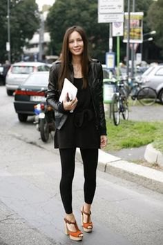 black leather jacket with mini shift dress and footless tights