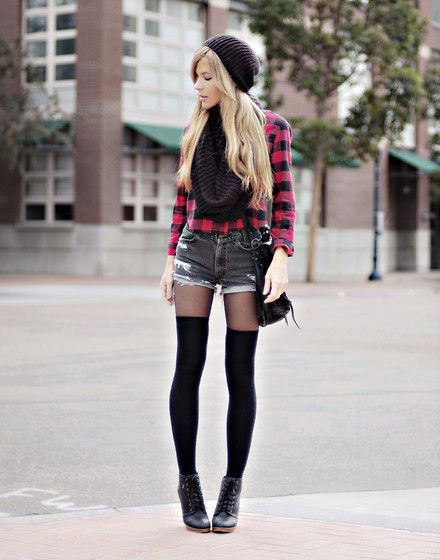 black and red checked shirt with buttons, mini denim shorts and tights