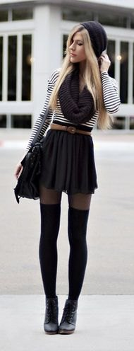 black and white striped T-shirt with belt mini-skirt and tights