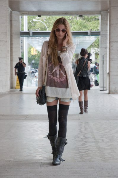 white long cardigan with t-shirt dress and black tights
