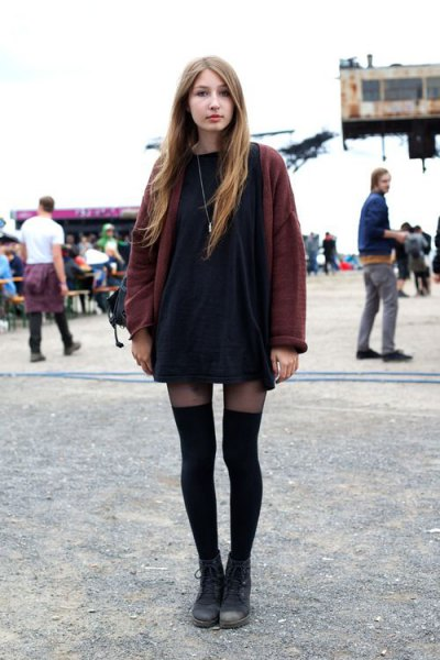 black mini shift dress with gray, oversized cardigan and thigh-high leggings