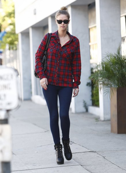 red and black plaid shirt with leggings