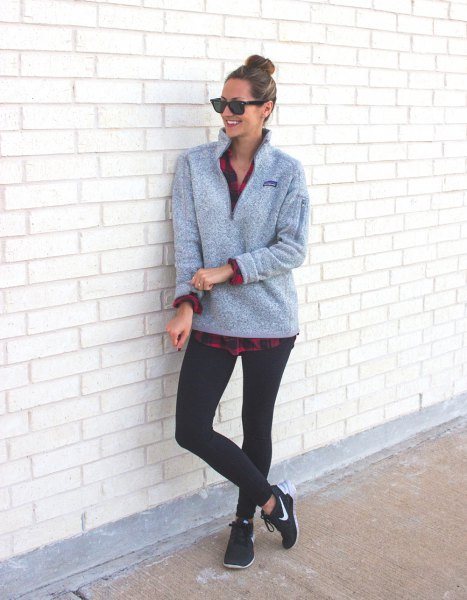 gray sweater with plaid boyfriend shirt and black leggings
