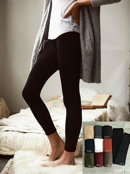 Tweed oversize jacket with black fleece leggings