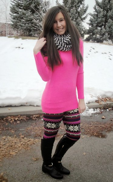 pink tunic slim fit sweater with Christmas fleece leggings