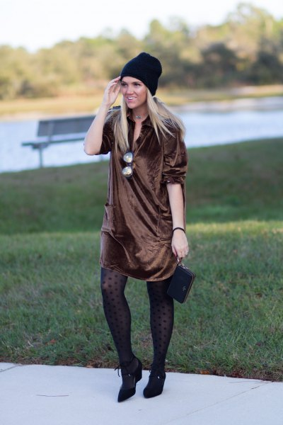 bronze silk shirt dress with tights and short boots made of pointed toe leather