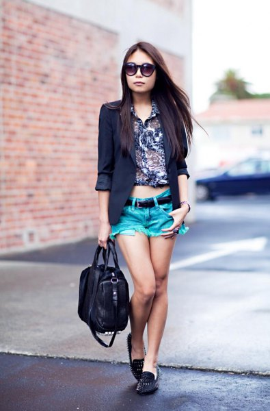 black blazer with shirt with floral pattern and spiked loafers
