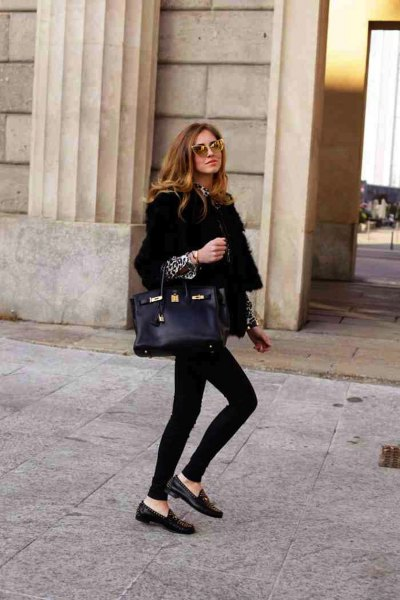 black blazer with blouse with leopard print and penny loafers