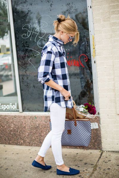 black and white checked boyfriend shirt with white jeans and royal blue loafers