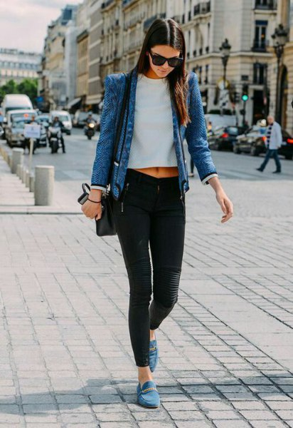 tailored blazer with shortened white top with round neck and blue loafers