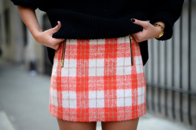 red and white checkered mini wool skirt with black knitted sweater