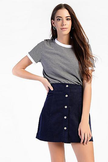 black and white striped T-shirt with high waisted cord skirt