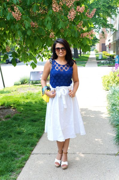 Royal blue sleeveless tank top with white midi flare skirt made of cotton waistband