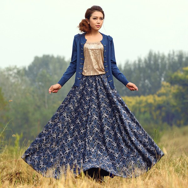 Dark blue maxi skirt with tribal print and cardigan