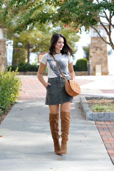 white printed t-shirt with gray cord mini skirt and over the knee boots