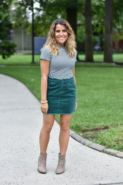 black and white striped t-shirt with gray mini cord skirt