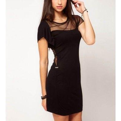 black semi-transparent short-sleeved mini dress