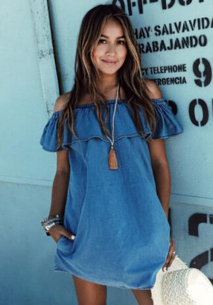 blue off the shoulder ruffle short sleeve denim mini shift dress