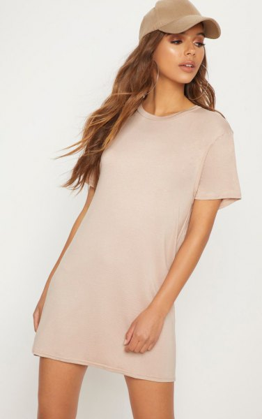 blush pink short sleeve t-shirt dress with matching baseball cap