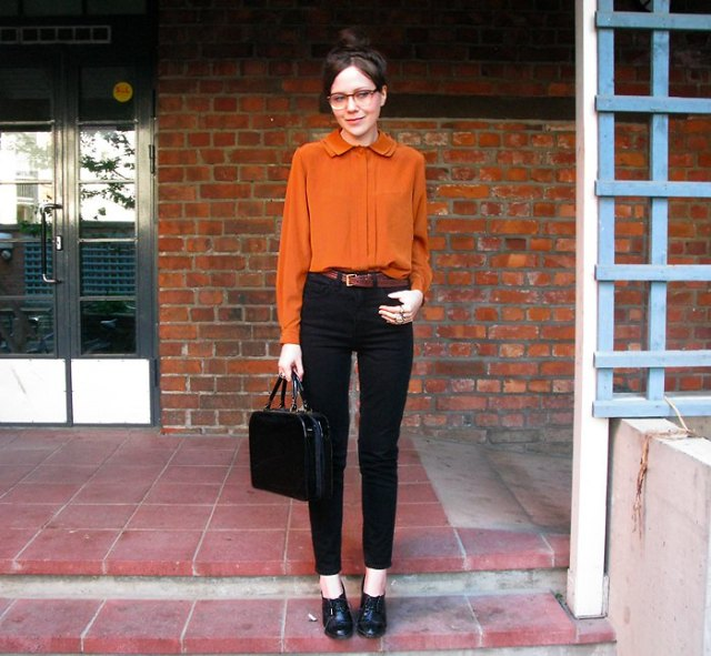 Chiffon blouse with black slim fit jeans with high waist