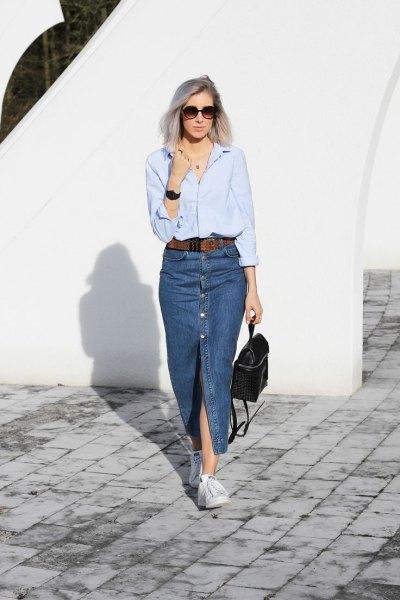 Light blue long sleeve shirt with a long denim slit skirt