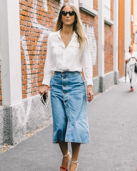 white shirt with pocket front and midi skirt with jeans button on the front