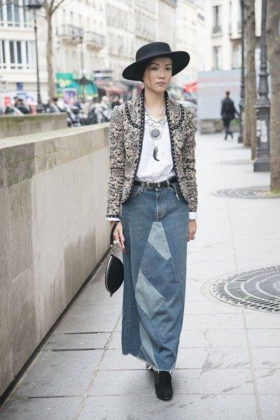 gray tweed collarless blazer with long denim skirt