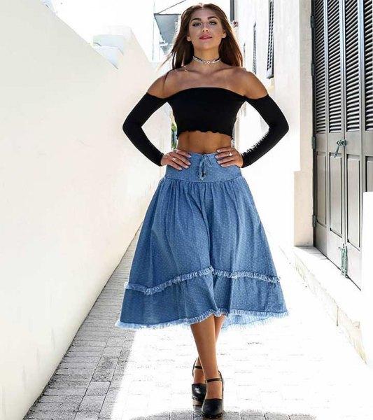 off shoulder, long sleeved crop top with off shoulder midi denim skirt
