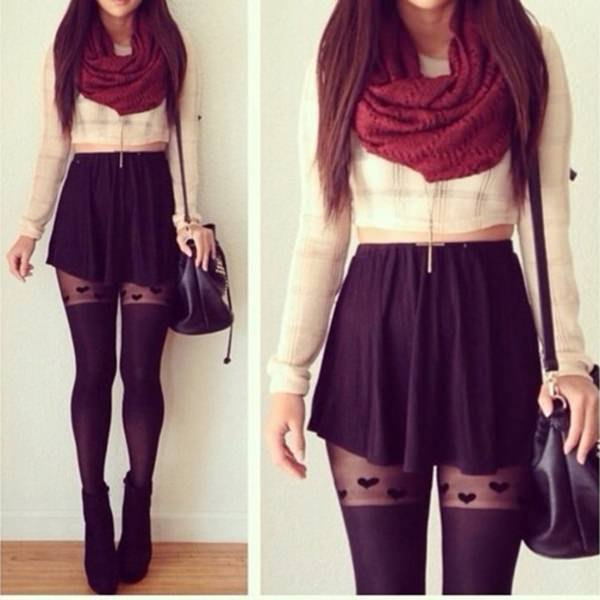white, short-cut blouse with red infinity scarf and mini skirt