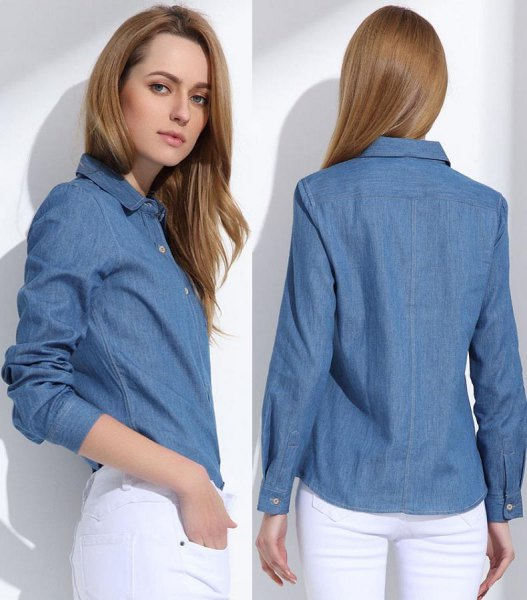 blue denim shirt with a slim fit and white skinny jeans