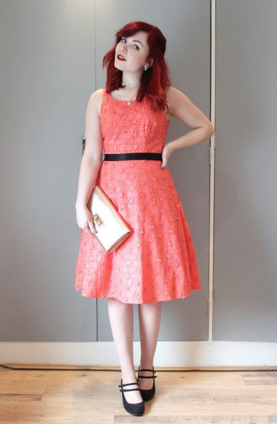 sleeveless fit with red belt and flared midi dress