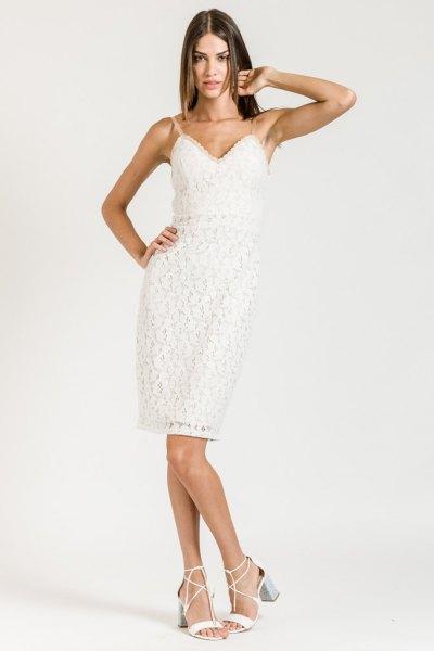 white spaghetti strap shift dress with a heart-shaped neckline