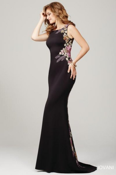 black mermaid occasion dress with floral pattern