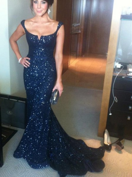 Navy blue mermaid sequin occasion dress with low scoop neck