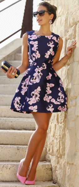 dark blue and white mini skater dress with floral pattern