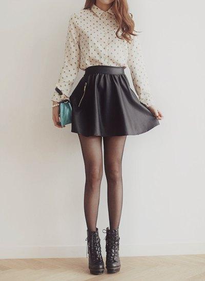Blush pink polka dot shirt with black high waisted mini rat skirt