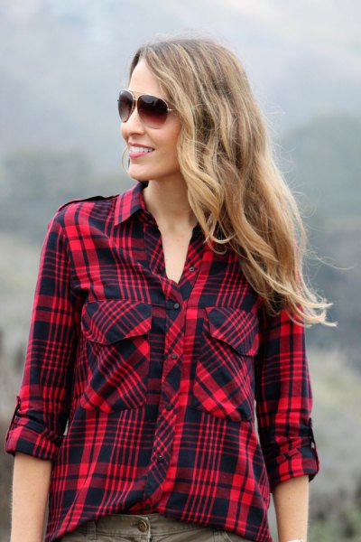 red and black checked hiking shirt with gray jeans