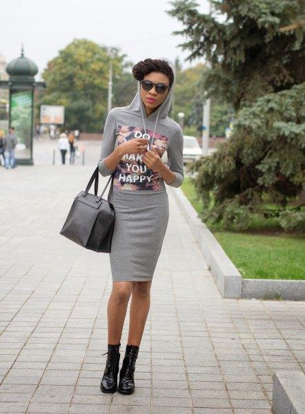 Bodycon mini dress with gray printed hood