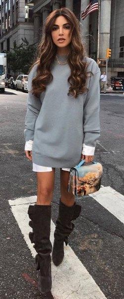 gray sweatshirt dress with white longline tunic shirt
