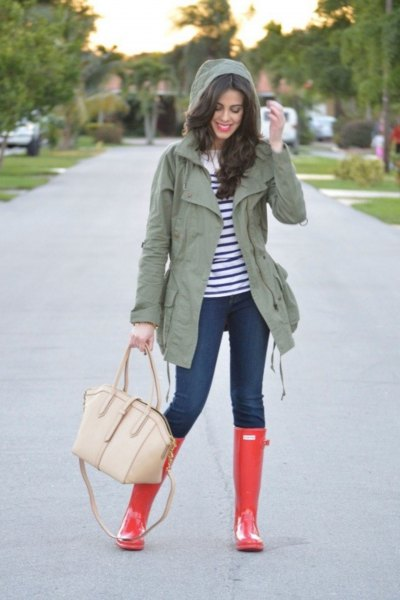 gray hooded jacket with dark blue and white striped long-sleeved T-shirt