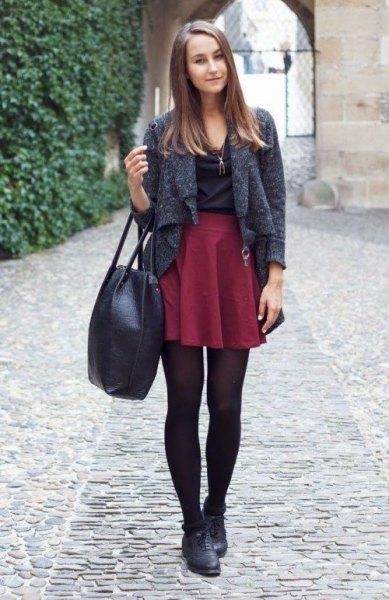 mottled gray short wool jacket with auburn mini pleated skirt