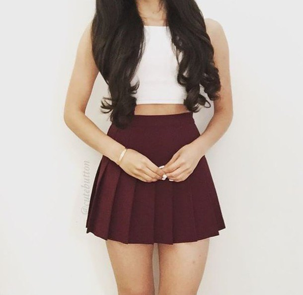 white crop top with pleated mini skirt