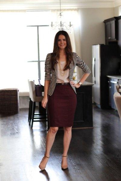black and white striped blazer with auburn midi skirt
