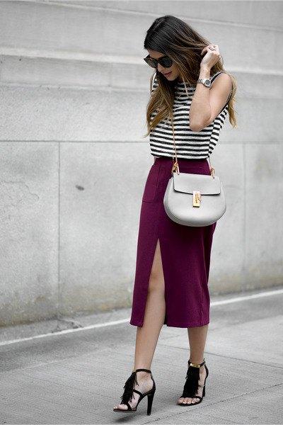 sleeveless black and white top with midi slit skirt