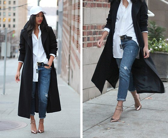 black wool coat with white boyfriend shirt and straight-leg jeans