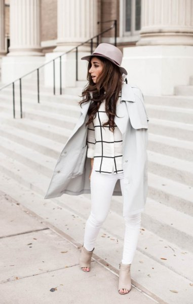 light gray walker coat with checkered top and white jeans