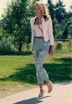 white blazer with top with scoop neck and light blue jeans
