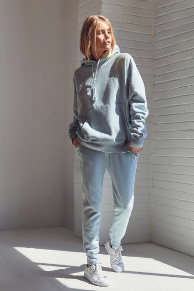 light gray, chunky sweatshirt and light blue boyfriend jeans