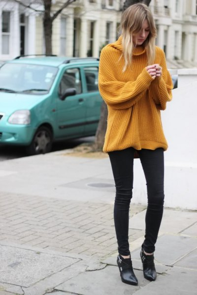 Chunky rib sweater with a waterfall neckline and black skinny jeans